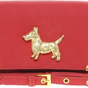 Red with Gold dog Purse